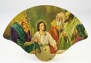 Frank H. Klie-Designed 3-Panel Folding Advertising Fan: Illustration Features Jesus Christ with ...