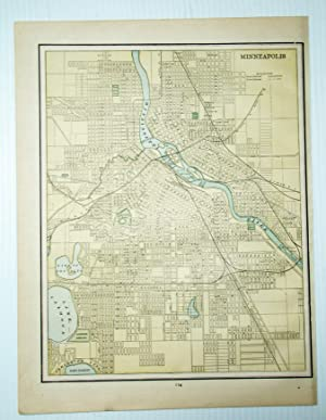 1889 Color Map of the City of Minneapolis, Minnesota (MN)