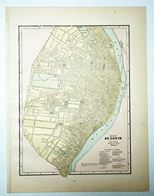 1889 Color Map of the City of St. Louis, Missouri (MO)