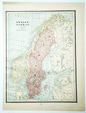 1889 Color Map of Sweden and Norway