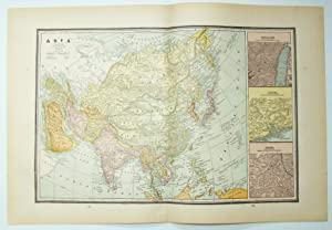 1889 Color Map of Asia, Including Expanded Views of Jerusalem, Canton and Delhi