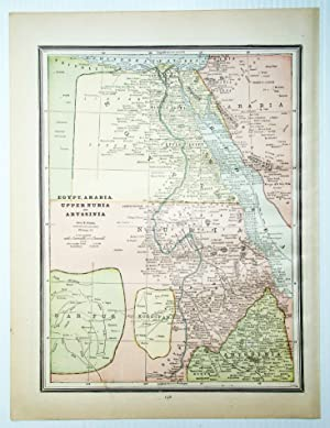 1889 Color Map of Egypt, Arabia, Upper Nubia and Abyssinia