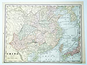 1889 Color Map of China, With Inset Map of Japan