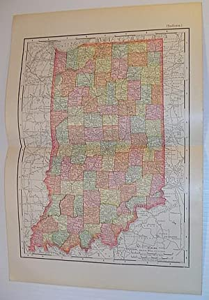 Rand, McNally & Co.'s 1901 State Map of Indiana - In Colour