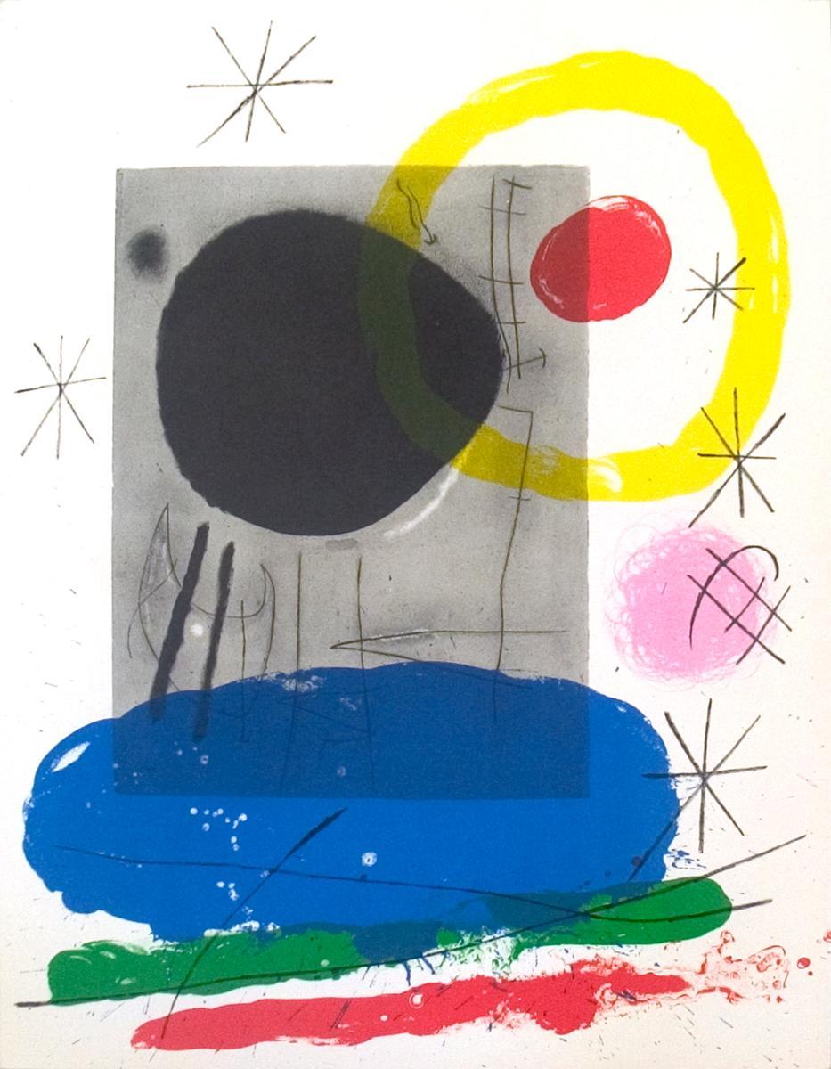 Joan Miro-Derriere le Miroir, no. 151-152, pg 10-1965 Lithograph: Miro, Joan