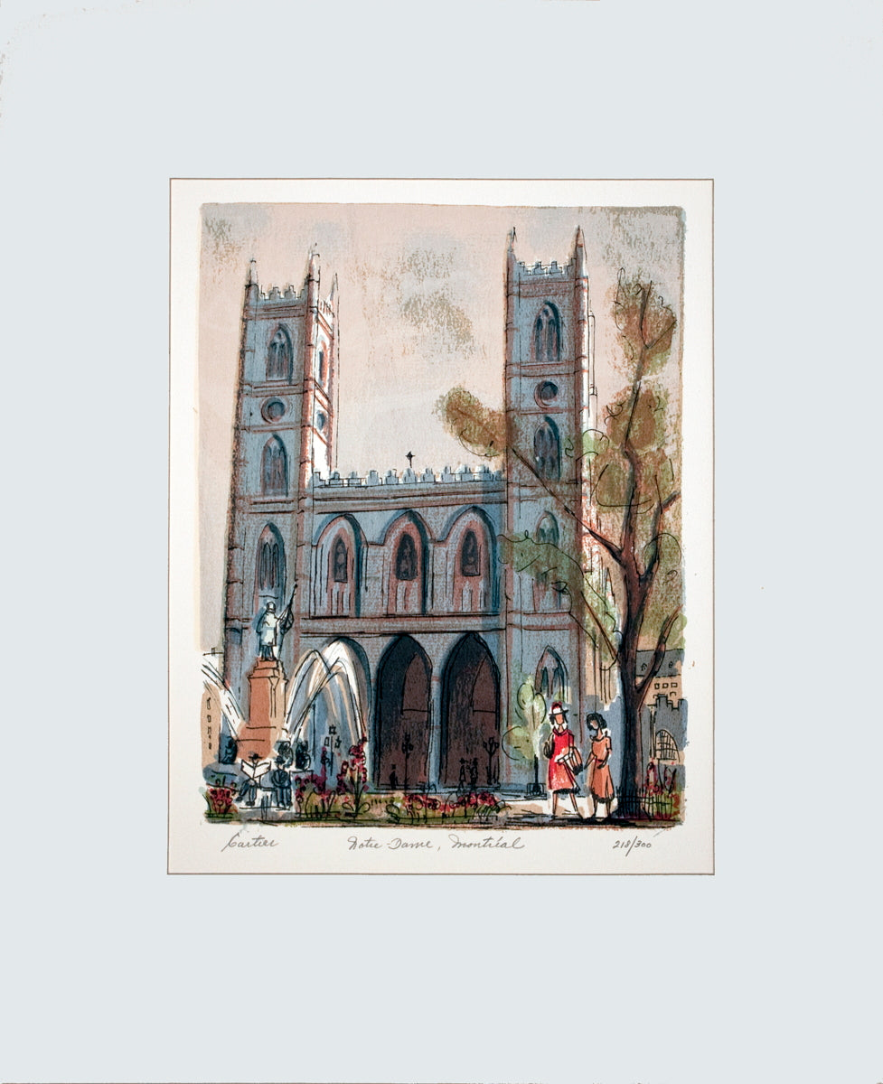 Roger Cartier-Notre Dame, Montreal-Lithograph-SIGNED Cartier, Roger Fine  Notre Dame, Montreal  by Roger Cartier, Signed Lithograph from an edition size of 300. The overall size of the Lithograph is 19.5 x 15.5 inches. The