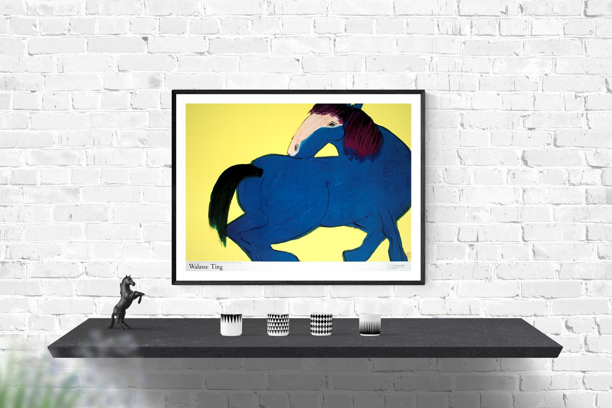 """Yellow sm 18/"""" x 25.5/"""" Poster 1990 Contemporary Blue WALASSE TING Blue Horse"""