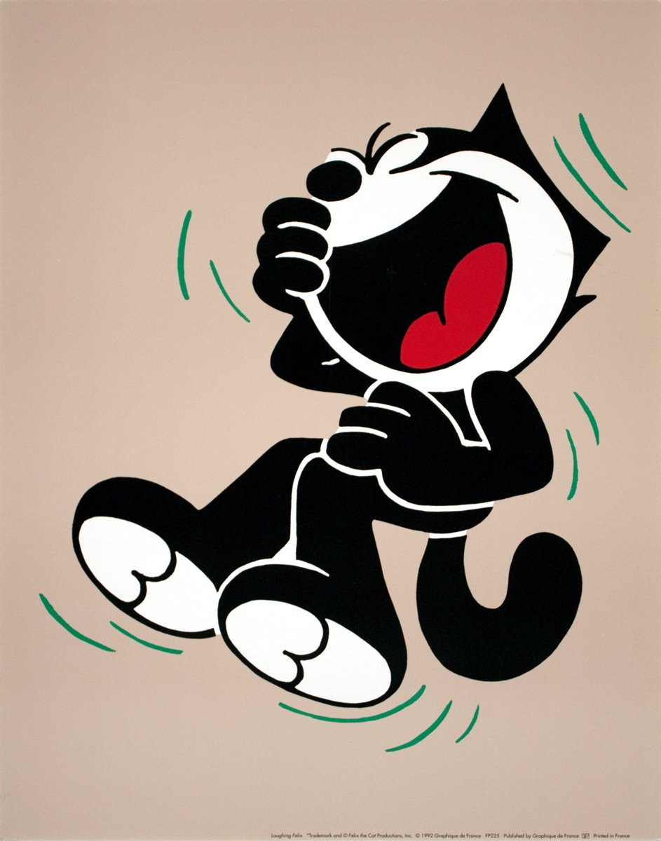 "Felix the cat as Artist 9/"" x 12/"" Poster 1992 Contemporary Neutral Black Cat"