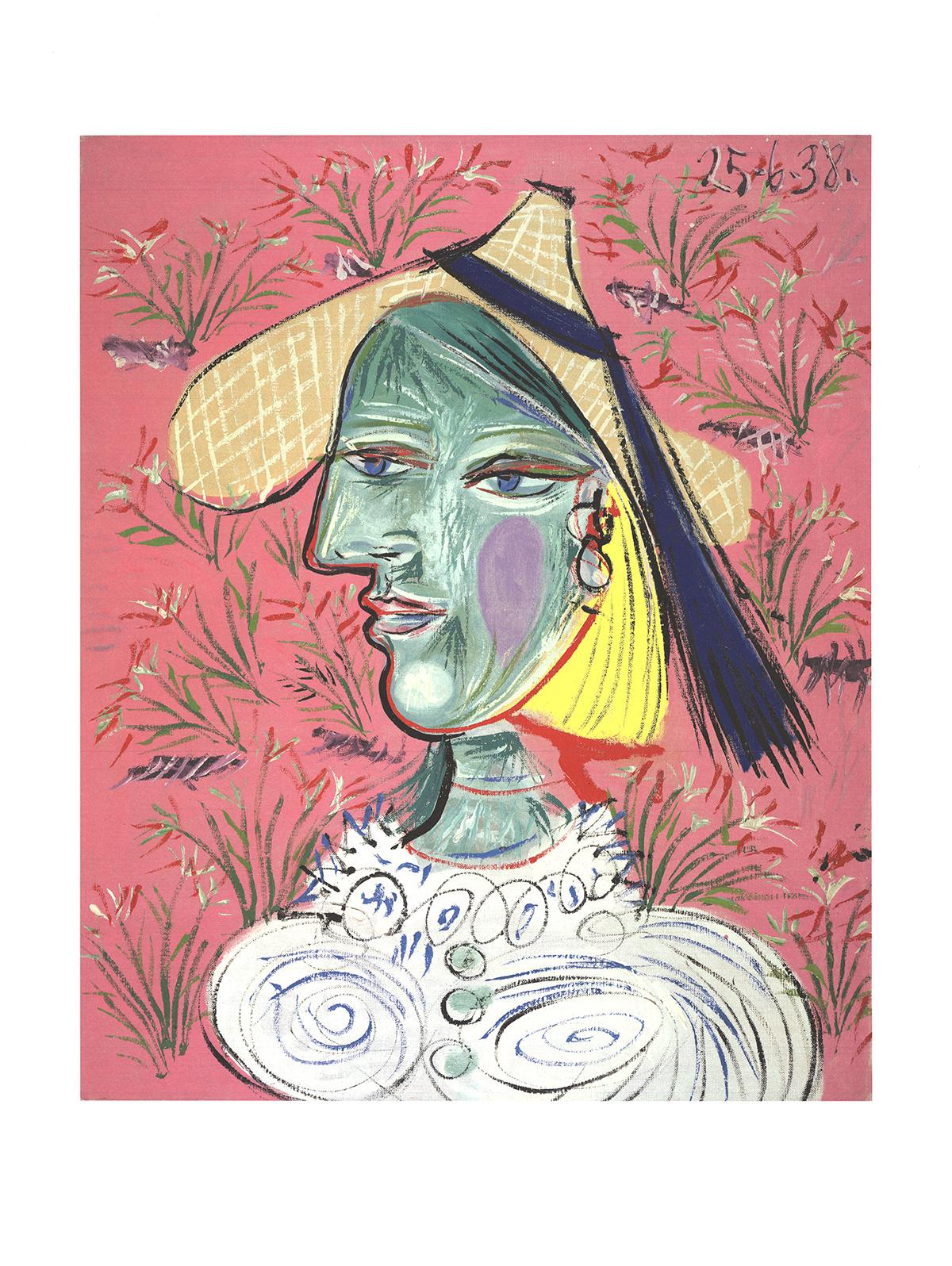 Pablo Picasso-Femme au Chapeau de Paille Sur Fond Fleuri-1989 Poster Picasso, Pablo As New