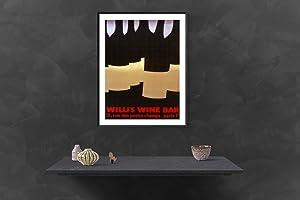 "ALBERTO BALI Willi's Wine Bar 39"" x 27.5"" Lithograph 1982 Vintage Red, Black Bottles, ..."