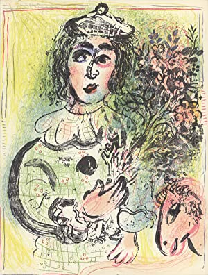 Marc Chagall-Clown with Flowers-1963 Mourlot Lithograph: Chagall, Marc