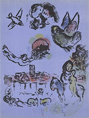 Marc Chagall-Nocturne in Vence-1963 Mourlot Lithograph: Chagall, Marc