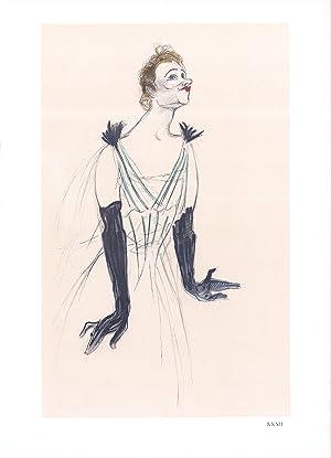 """HENRI DE TOULOUSE-LAUTREC Portrait d'Yvette Guilbert 14.5"""" x 10.5"""" Lithograph 1966 Art ..."""