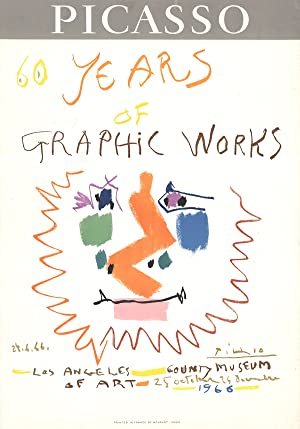 "PABLO PICASSO 60 Years of Graphic Works 29"" x 20.25"" Lithograph 1966 Cubism Multicolor: ..."