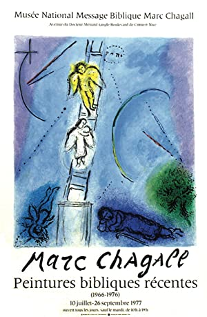 "MARC CHAGALL Jacob's Ladder 30"" x 20.75"" Lithograph 1977 Modernism Multicolor, Blue: ..."