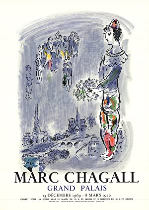 Marc Chagall-The Magician Of Paris-1970 Mourlot Lithograph: Chagall, Marc