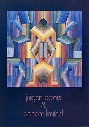 "JURGEN PETERS Prism 35"" x 25"" Poster 1980 Abstract Multicolor, Blue Color, Spectrum, ..."