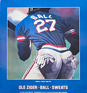 """OLE ZIGER Ball and Sweats (New York Mets) 41"""" x 38"""" Poster Multicolor, Blue, White: Ziger, ..."""