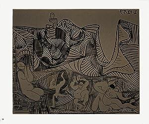 Pablo Picasso-Bacchanale au Hibou-1962 Linocut: Picasso, Pablo