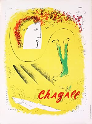Marc Chagall-The Yellow Background-1969 Mourlot Lithograph: Chagall, Marc