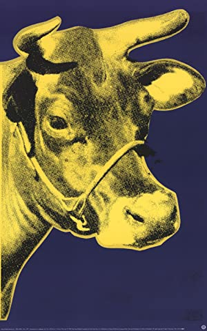 Andy Warhol-Cow Yellow on Blue Background (sm)-2000 Poster