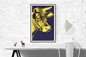 """ANDY WARHOL Cow Yellow on Blue Background (sm) 33.5"""" x 20.25"""" Poster 2000 Pop Art Blue, ..."""