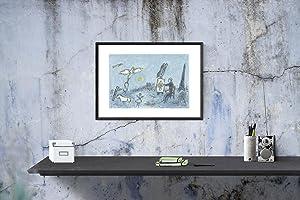 "MARC CHAGALL l'envolee magique 15"" x 22"" Lithograph 1981 Modernism Blue, Gray Drawing: ..."