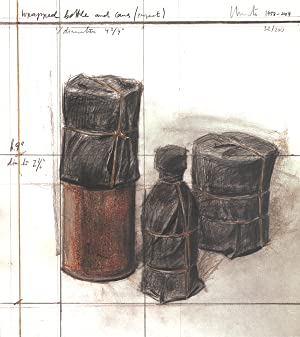 Javacheff Christo-Wrapped Bottle and Cans (project)-2004 Lithograph-SIGNED