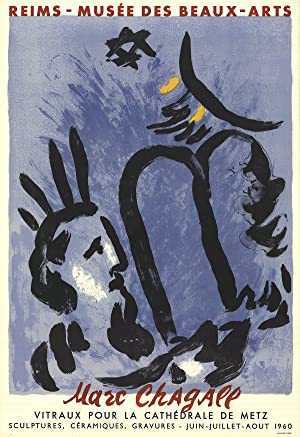 Marc Chagall-Moses and the Tablets-1960 Mourlot Lithograph: Chagall, Marc