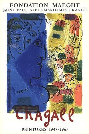 Marc Chagall-Le Visage Bleu, 1967-Mourlot Lithograph: Chagall, Marc