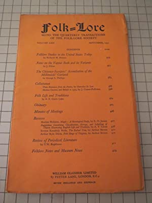 1951 Folk-Lore Magazine: Folklore Studies in the U.S.Today - Notes on Vapour Bath and Its Variants ...