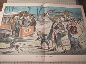 "1883 Puck Lithograph ""Take the Next Car"" - Uncle Sam and Political Streetcars: Joseph ..."
