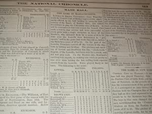 June 26,1869 National Chronicle Journal of American Sports and Amusements - Baseball Club Nines of ...