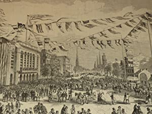 """1872 HW Engraving of """"Philadelphia--Broad Street, in the Vicinity of the Academy of Music, ..."""
