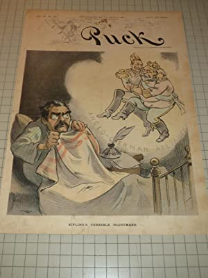 """1903 Puck Lithograph of """"Rudyard Kipling's Terrible Nighmare"""" (Anglo-German Alliance..."""
