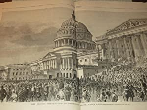 1873 Harper's Weekly - Indian Signal, A Buffalo Herd In Sight - Second Inauguration of ...