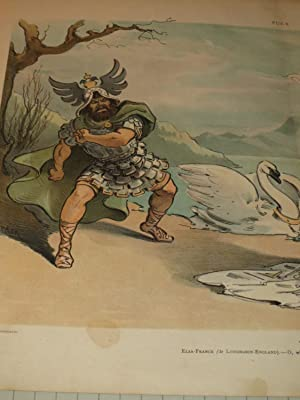 """1903 Puck Lithograph of """"To Late"""" - Opera Satire Featuring Telramund (Russia), Lohengrin ..."""