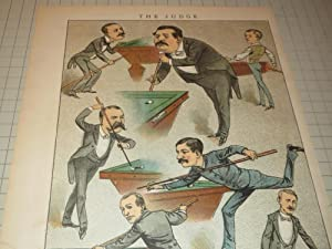 19th Century Billiard Experts - Shooting Pool in 1880's - The Judge Color Lithograph: ...