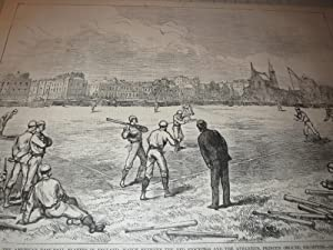 1874 HW Baseball Engraving of The American Base-Ball Players in England - Match Between the Red ...