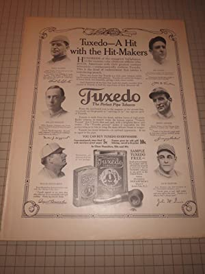 1913 The Country Gentleman - Tuxedo Tobacco Base Ad Featuring Roger Bresnahan, Miller Huggins, Fred...