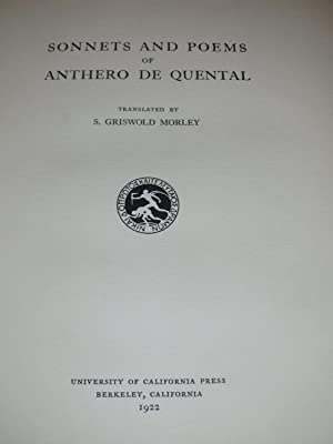 Sonnets and Poems of Anthero de Quental: Anthero de Quental
