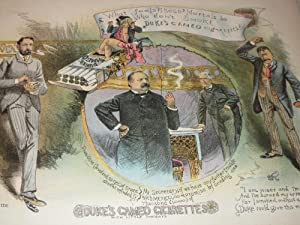 1886 Puck Lithograph of Duke's Cameo Cigarettes Ad Featuring President Grover Cleveland - 19th...