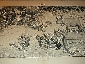 "1904 Wall Street Illustration of ""The Golden Calf"" of Wall Street - Worshiping Money - ..."