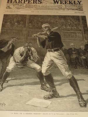 "1888 Harper's Weekly Baseball Engraving ""A Ball Or A Strike-Which?"" - 19th Century ..."