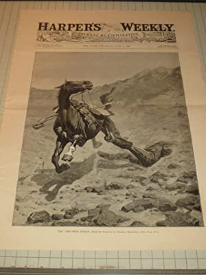 """1889 Harper's Weekly Cvr Engraving of """"The Ambushed Picket"""" by Frederic Remington: ..."""