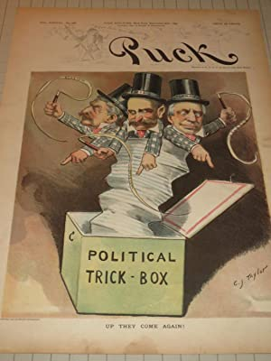 "1895 Puck Lithograph of ""Political Jack-in-the-Box"" - Political Trick Box: C.J.Taylor"