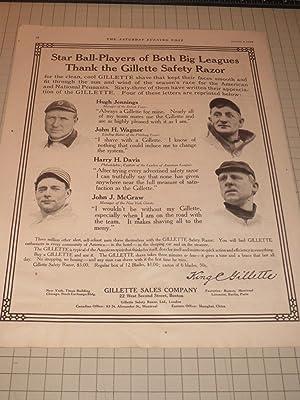 1910 Gillette Safety Razor Ad Featuring Baseball Greats Honus Wagner, John McGraw, Hugh Jennings, ...