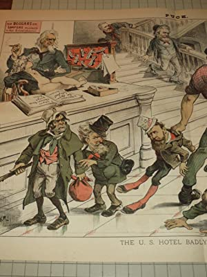 "1883 Puck Lithograph of ""The U.S.Hotel Badly Needs a Bouncer"" - No Incendiary Talk - No ..."