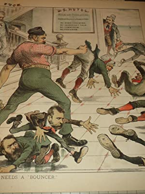 """1883 Puck Lithograph of """"The U.S.Hotel Badly Needs a Bouncer"""" - No Incendiary Talk - No ..."""