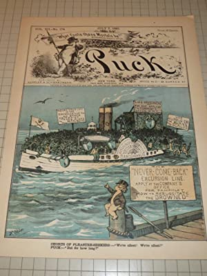 """1880 Puck Lithograph Cover of """"The Never-Come-Back"""" Excursion Line"""" - Over Crowed ..."""